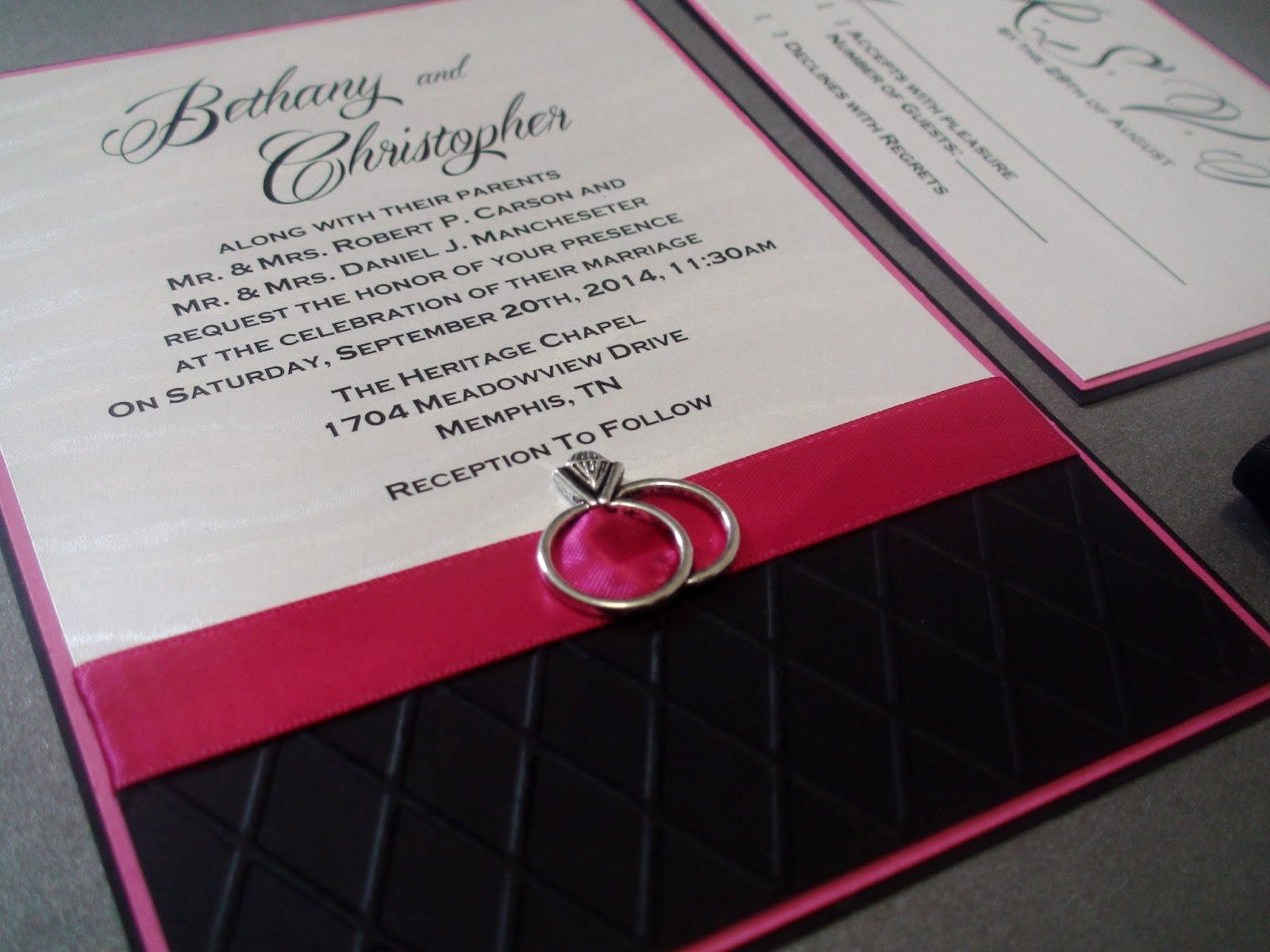 bucket of kisses: Fuschia & Silver-White Wedding Stationary