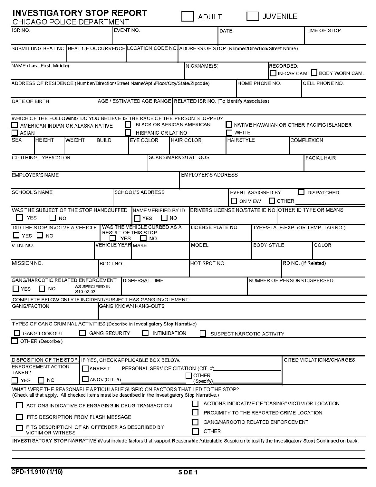 Second City Cop Contact Card vs ISR – Homicide Report Template