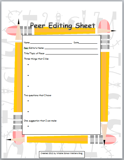 Middle School Matters Blog: Making Monday Better...New Peer Editing Freebie!