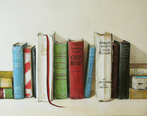 Vintage Cookbooks Painting By Holly Farrell