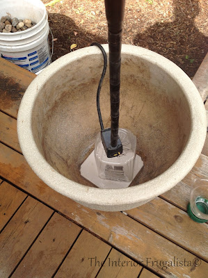 Step Two of building a plant pot water fountain