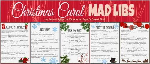 Five PRINTABLE Christmas Carol Mad Libs by Spool and Spoon for Sumo's Sweet Stuff
