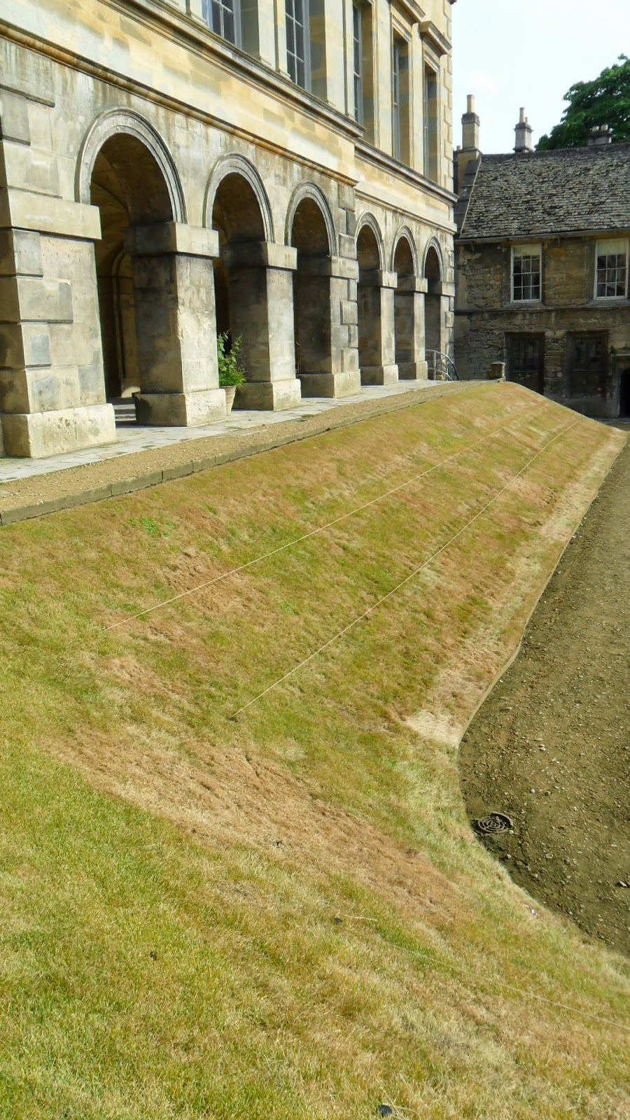 Worcester College Gardeners Respraying The Grass On The Banks