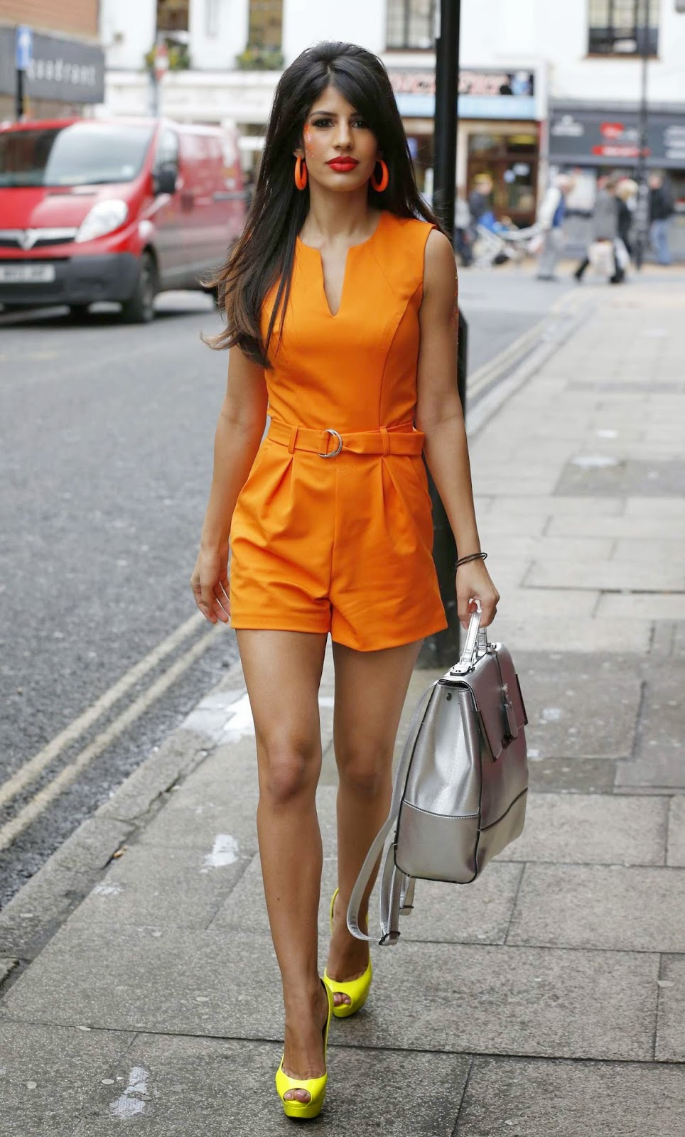 Jasmin Walia grabs attention in an orange playsuit out and about in Chelmsford