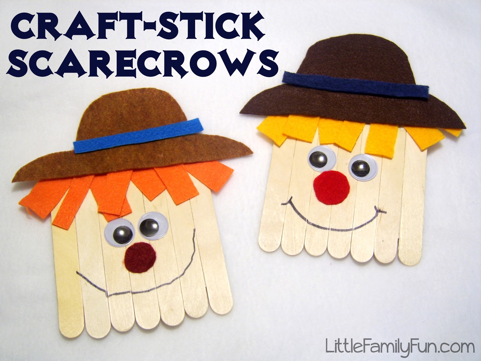 Craft stick scarecrows for Simple fall crafts for kids
