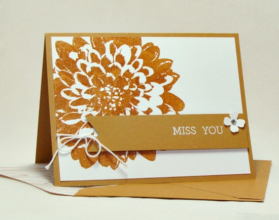 Quick and easy Definitely Dahlia Delightful Dijon embossed miss you card.