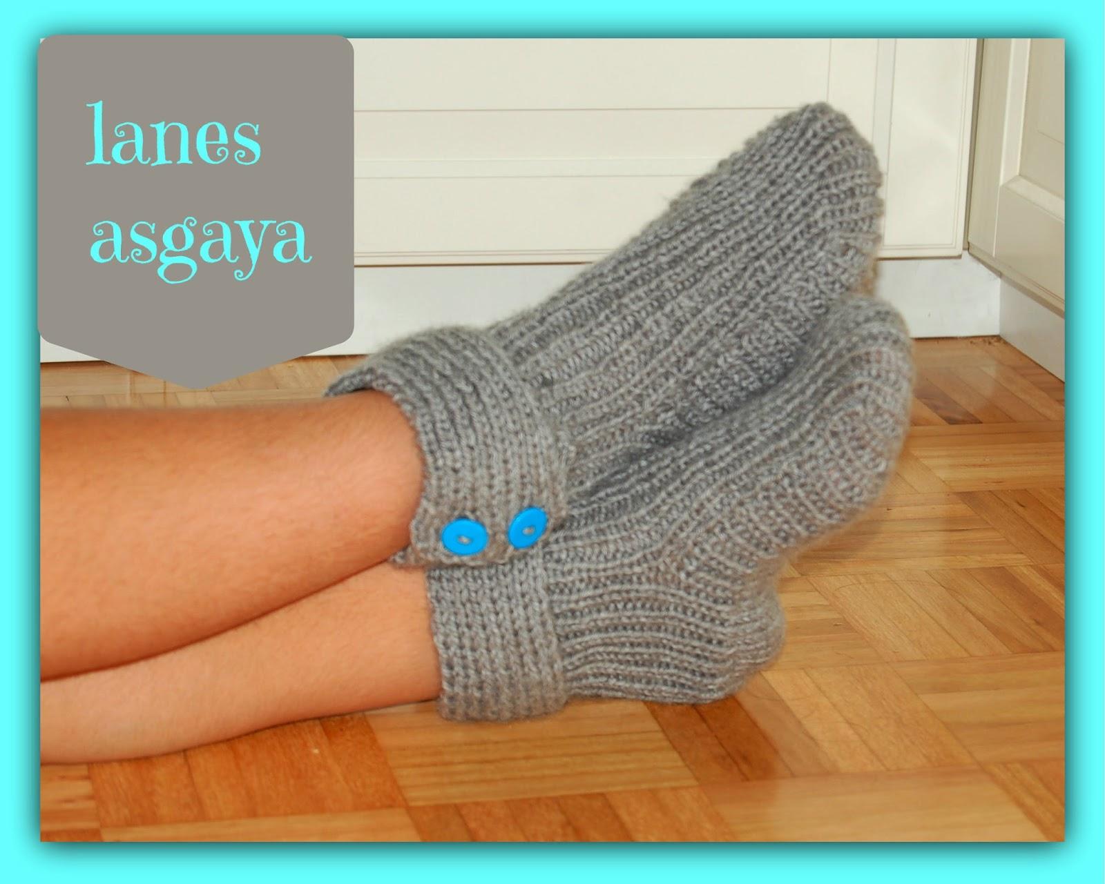 Lanes asgaya pantuflas moon socks - Como hacer talon de calcetines de lana ...