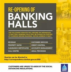Banking Halls Open