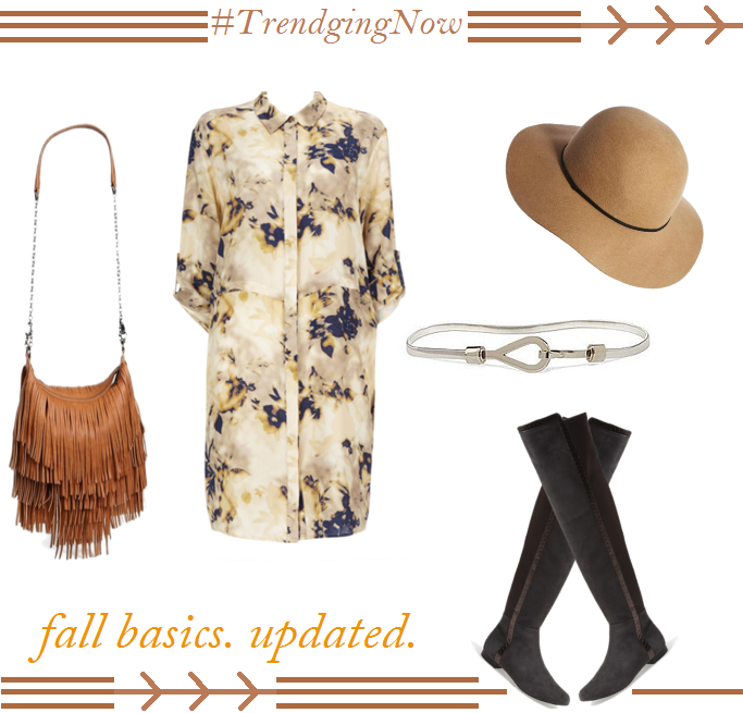 Fall Outfit Ideas, Over The Knee Boots With Dresses, Floral Shirt Dress, Fringe Bags, Fringe Bag crossbody, Felt Fedora, Wool Fedora
