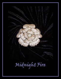 Midnight Fire - Diamond Rose Brooch on Black Velvet, for Poem by Maja Trochimczyk