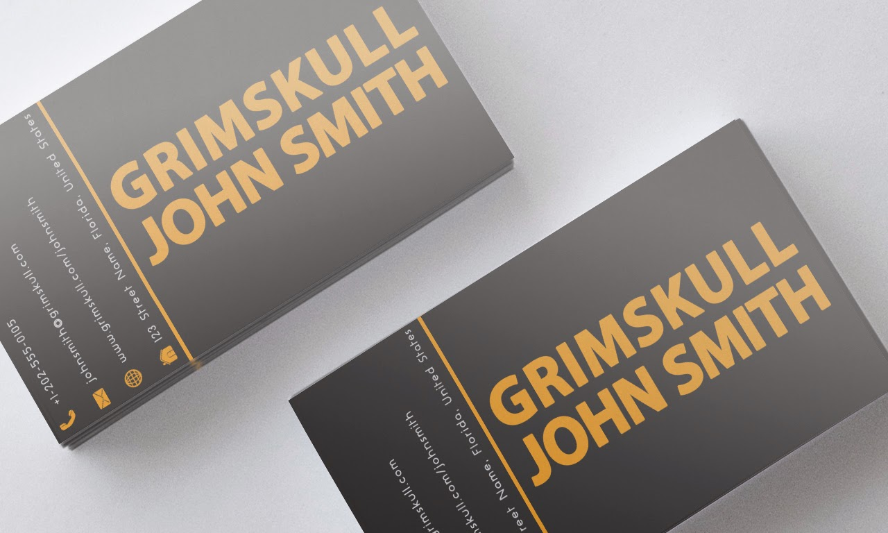 Black and orange business card template grimskull art a double colored slim business card template which includes company name persons name and personal information reheart Images