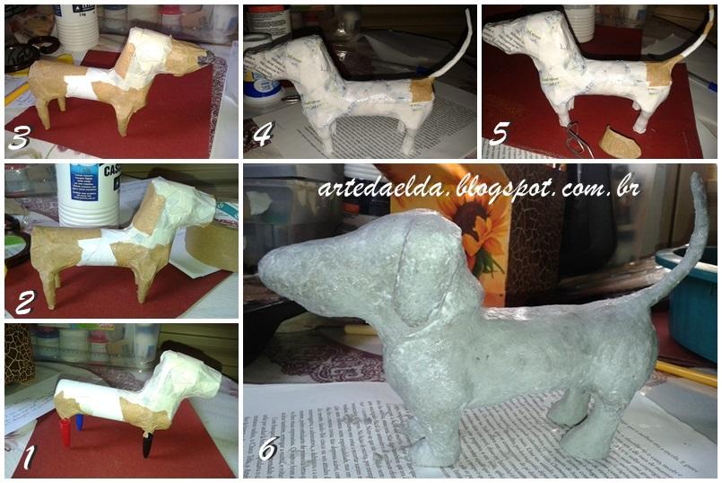 Etapas: escultura de massa de papel machê