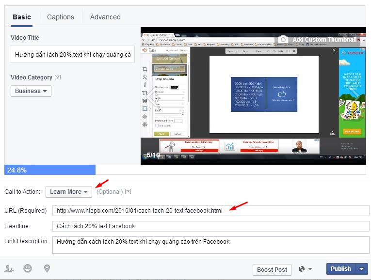 Hướng dẫn cách chèn link vào video trên Facebook