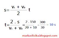 Kali ini markas fisika akan membagikan pembahasan soal tentang gerak untuk SMA, ada pun pembahasan soal nya seperti berikut, semoga bermanfaat..s = v1 + v0 / 2 di kali t, t = 2 di kali s / v1 + v0 = 2 di kali 150 / 20 + 10 = 300 / 30 = 10 s