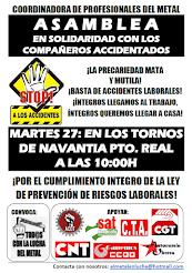 Contra la precariedad laboral y los accidentes de trabajo, Asamblea-Concentración en Navantia Puert