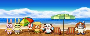 無料の夏イラスト・ビーチの風景のサンプル