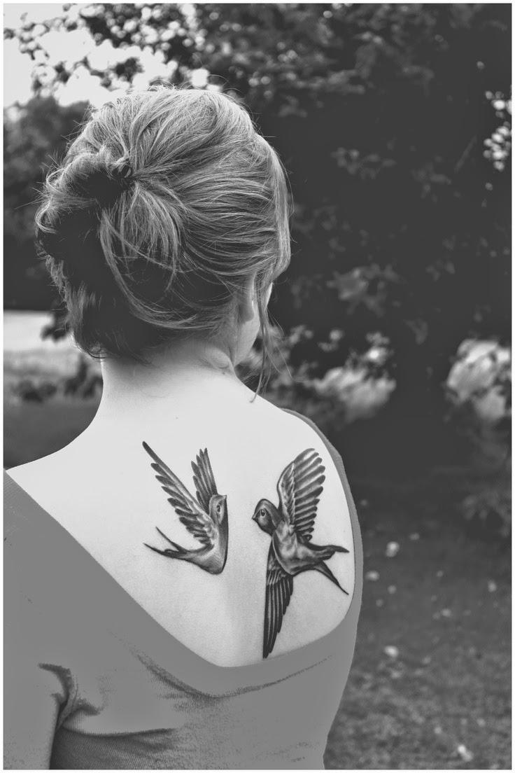 ♥  ♫ ♥ A beautiful pair of bird back tattoos.. ♥  ♫ ♥