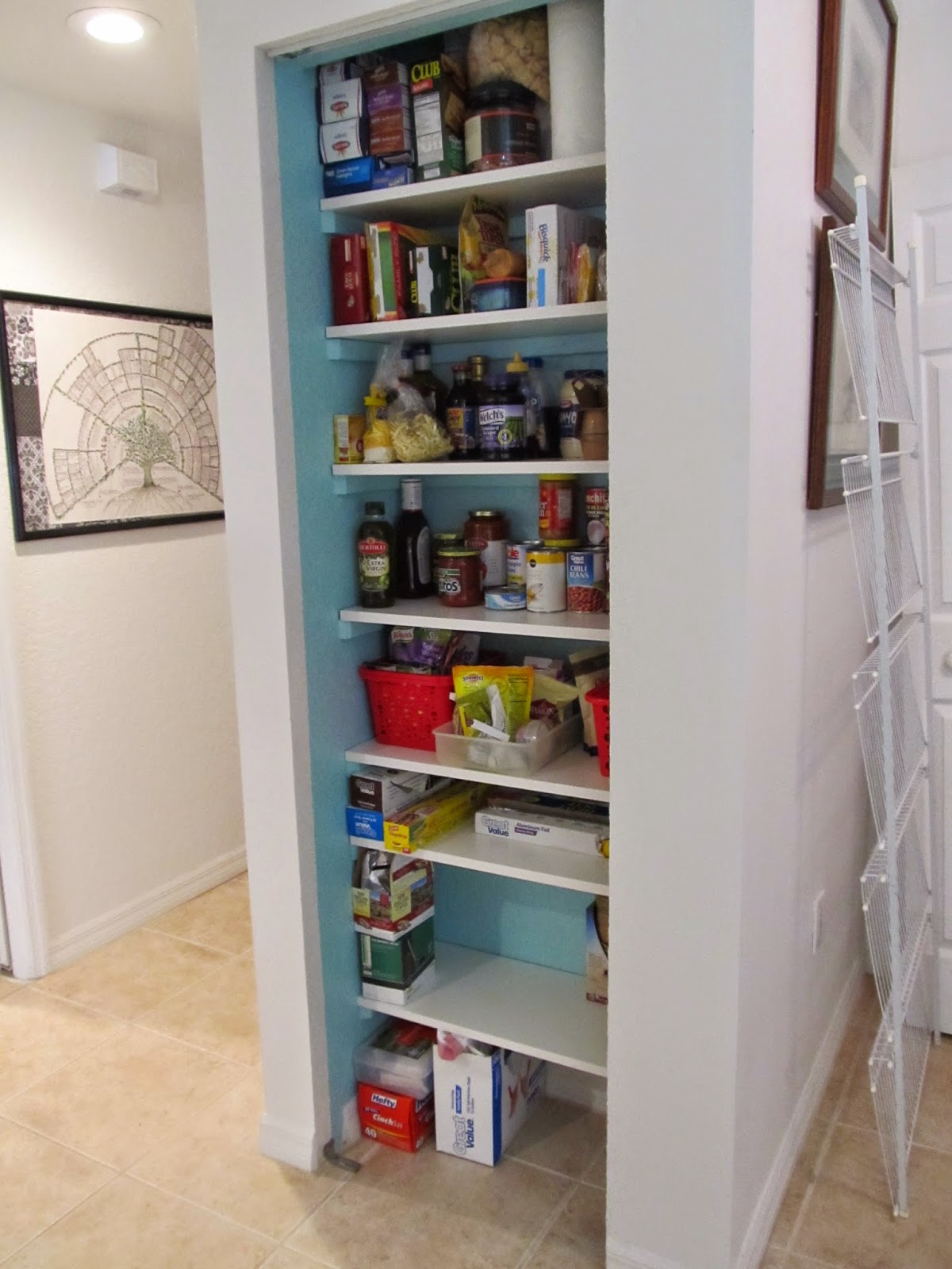 Pantry close re-do with wooden shelves