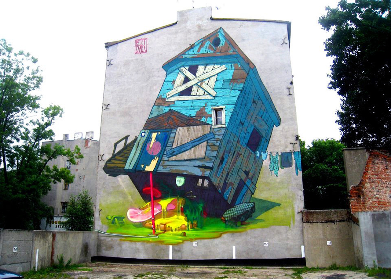 Sainer X Bezt New Mural In Lodz Poland Streetartnews
