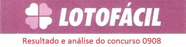 resultado da lotofacil 0908 Resultados de loterias: concurso 0908 da lotofácil