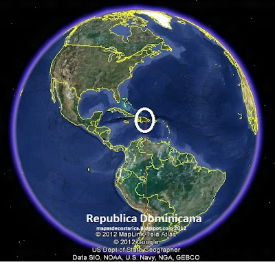 Mapa de Republica Dominicana en El Mundo, Google Earth