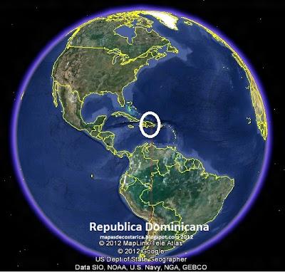 Mapa de Republica Dominicana en El Mundo, Google Earth