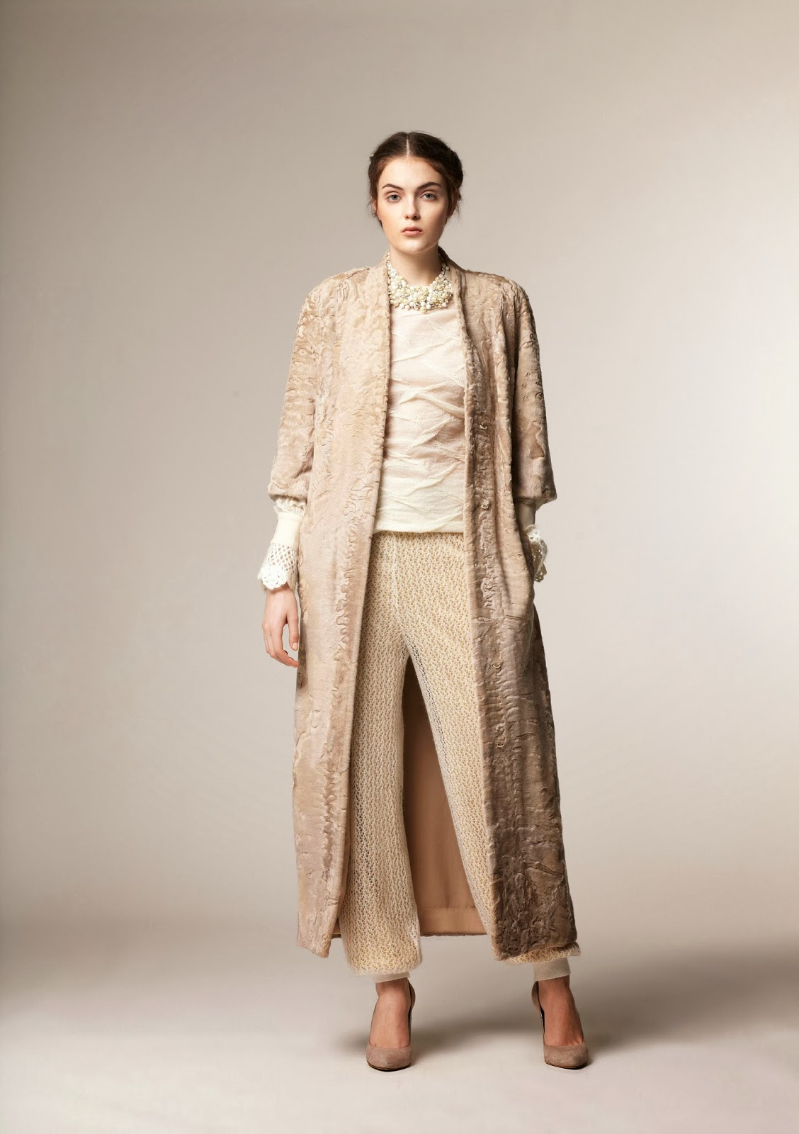 Floor length modest coat by A La Russe at Mode-sty