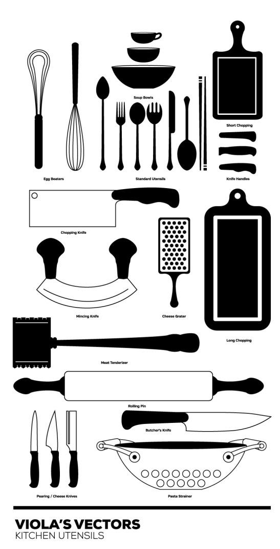 Siluetas de utensilios de cocina en formato vectorial 2 for Utensilios de cocina antiguos con nombres