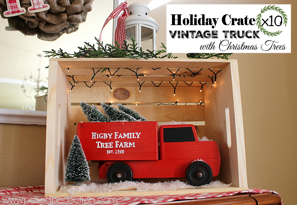 An old wooden truck got a sweet makeover for this Holiday Crate x 10 Challenge. Nothing says winter like a red vintage truck hauling some Christmas trees!