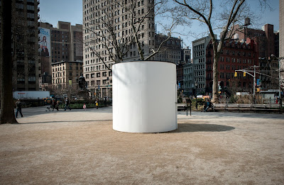 "Photograph of ""Topsy-Turvy: A Camera Obscura Installation"" located in Madison Square Park in New York City."