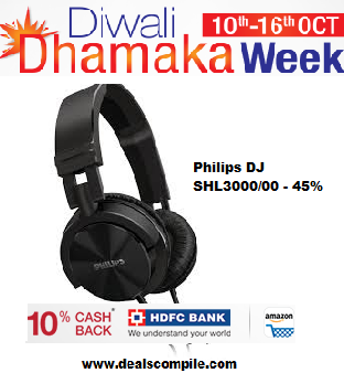 Philips DJ SHL3000/00 Over-Ear Headphone (Black) - Huge Discount