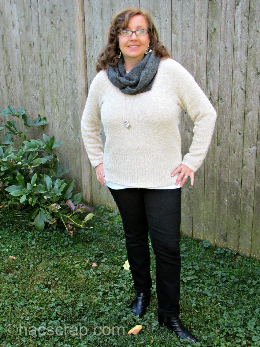 MidLife Mom Style - Boucle Pullover and Scarf with Black Skinnies