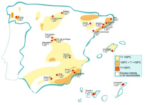 Mapa España de zonas de posible utilización de energía geotérmica.