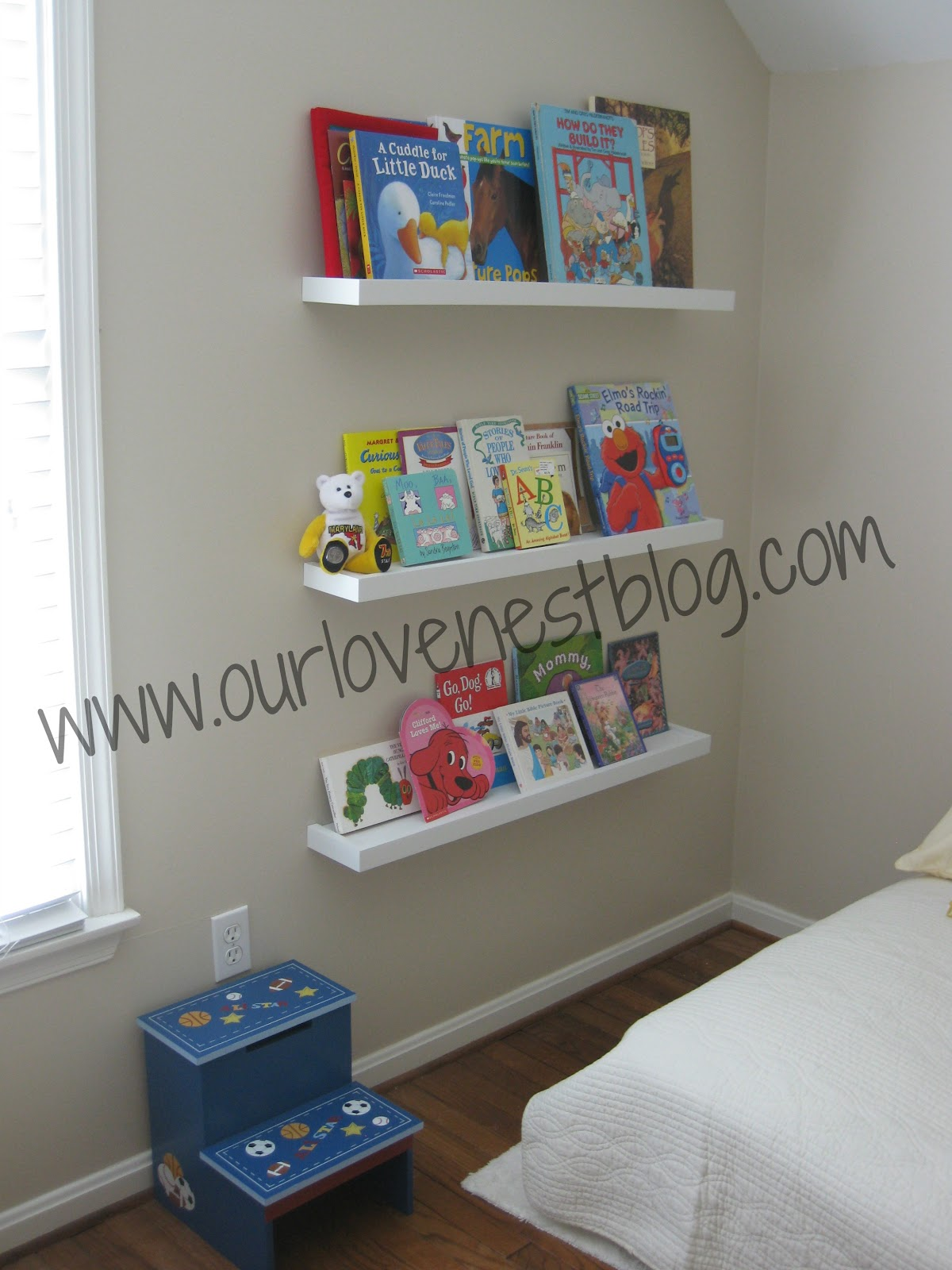 Our Love Nest DIY Wall Hung Bookshelf & Reading Corner
