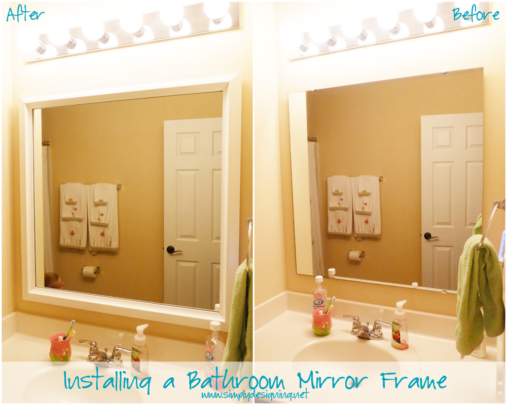 Framing A Bathroom Mirror Before And After installing bathroom mirror frames