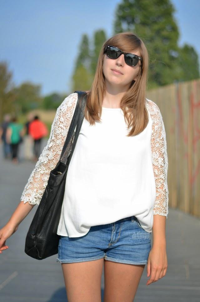 blouse guipure promod blanche