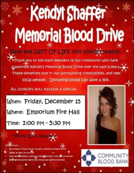 12-15 Blood Drive, Emporium, PA