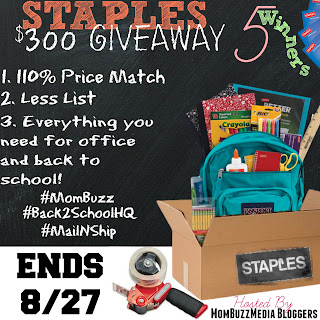 Staples $300 Back To School Giveaway
