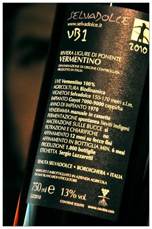 VB1 VERMENTINO 2010 - Riviera Ligure di Ponente D.O.C. - Tenuta Selvadolce