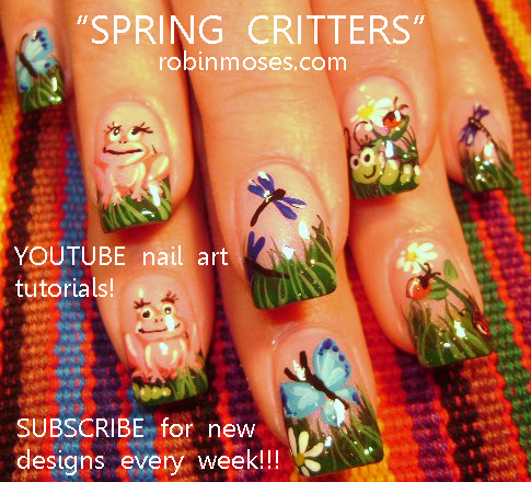 SPRING CRITTERS : robin moses nail art design tutorial - YouTube
