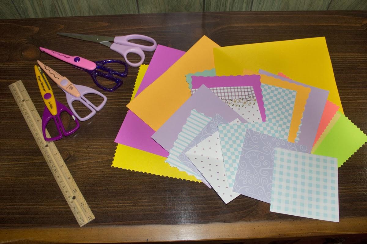 Colored paper, scissors, ruler pinwheel
