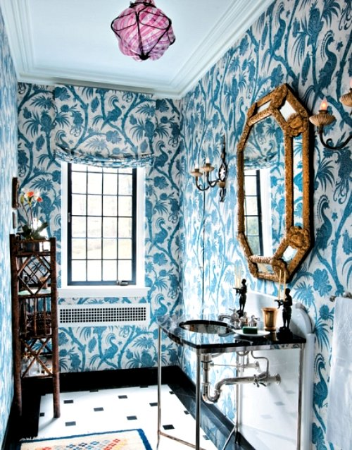 Chez v wallpapered bathrooms - Connecticut cottages and gardens ...