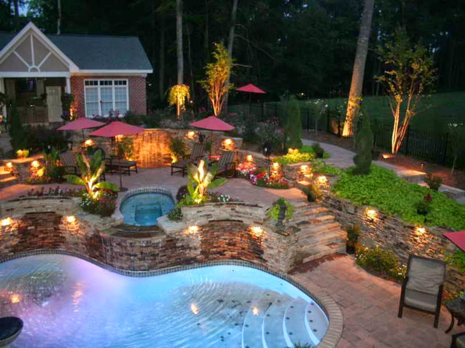 Lighting Landscape Simple Backyard Landscaping Ideas Which Look