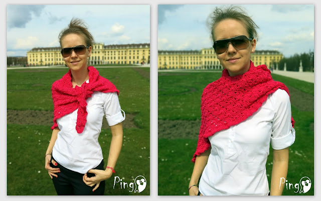 Summer shawl - crochet pattern by Pingo - The Pink Penguin