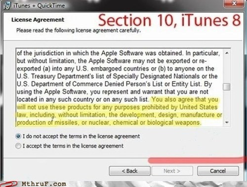 iTunes licence agreement