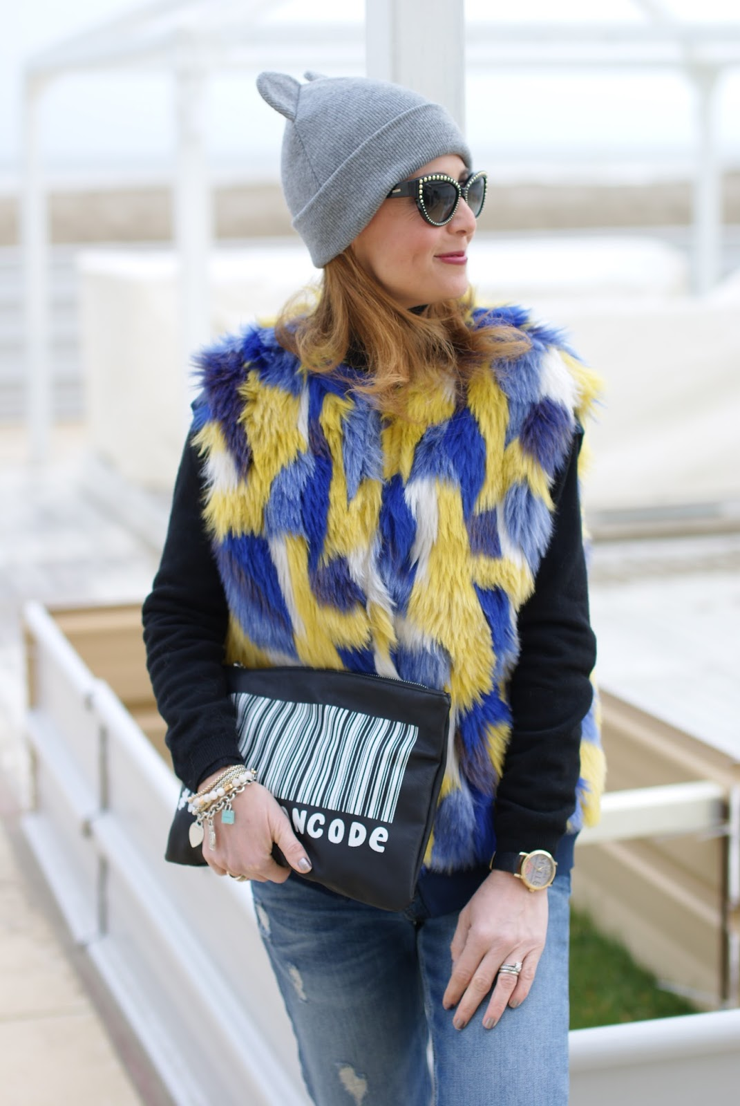 faux fur Shiki vest and cat ear beanie on Fashion and Cookies fashion blog, fashion blogger style