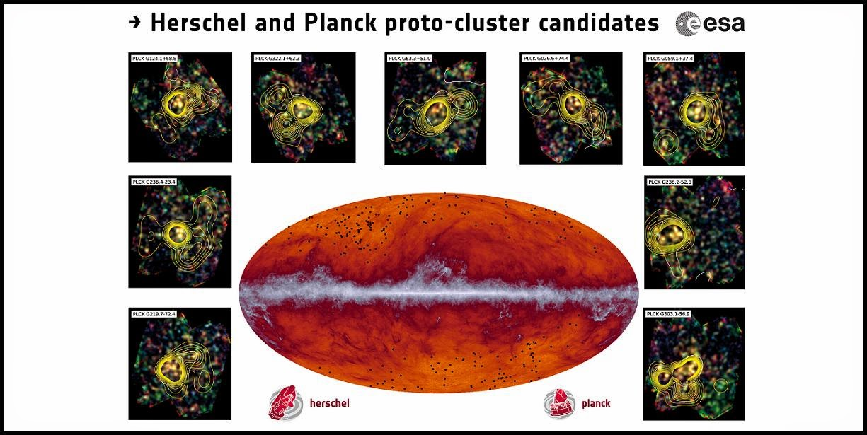 The Planck all-sky map at submillimetre wavelengths (545 GHz). The band running through the middle corresponds to dust in our Milky Way galaxy. The black dots indicate the location of the proto-cluster candidates identified by Planck and subsequently observed by Herschel. The inset images showcase some of the observations made by Herschel's SPIRE instrument; the contours represent the density of galaxies. Credit: ESA and the Planck Collaboration/ H. Dole, D. Guéry & G. Hurier, IAS/University Paris-Sud/CNRS/CNES