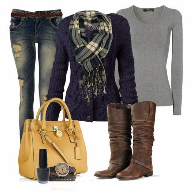 Brown Boots,Handbag,Jeans,Purple Jacket with a Scarf,Grey Long Sleeves and Suitable Watch