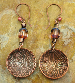 Paisley Etched Copper Earrings With Czech Glass Beads