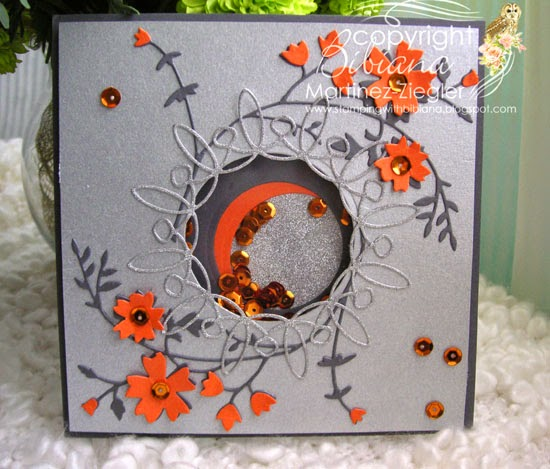 shaker card with memory box dies front